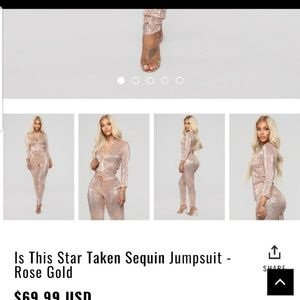 9c22abc1996 Fashion Nova Dresses - Is This Star Taken Sequin Jumpsuit - Rose Gold